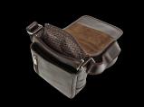 Малая мужская кожаная сумка с клапаном.Множество карманов, Мужские сумки